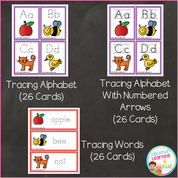 Tracing Cards Alphabet Numbers Shapes Words Fine Motor