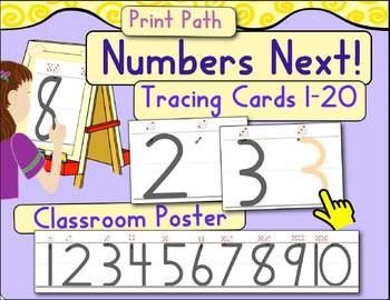 Tracing Cards & Classroom Number Poster 1-20: Numbers Next!
