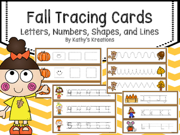Tracing Cards -Fall (Letters, Numbers, Shape and Lines)