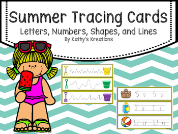 Tracing Cards -Summer (Letters, Numbers, Shape and Lines)