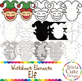 Tracing Clip Art Elf Worksheet Elements for Cutting Puzzle Maze Outline