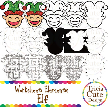 Tracing Clip Art Elf Worksheet Elements for Cutting Puzzle