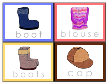 Tracing Clothing Words – Single and Plural - Color and BW