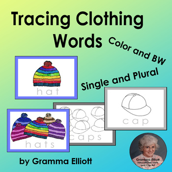 Trace Clothing Words Dry Erase Task Cards – Single and Plural - Color and BW