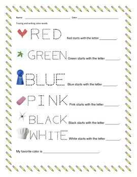 Tracing Color Words and Identifying Beginning Letter