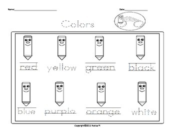 Tracing Colors Coloring Colors Worksheet