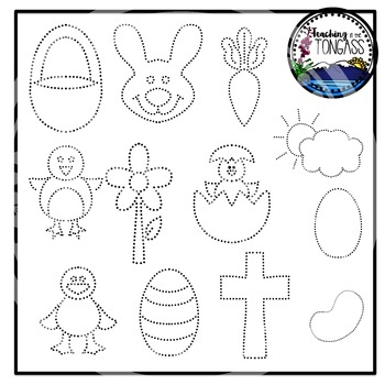 Tracing and Pinning Easter Clipart