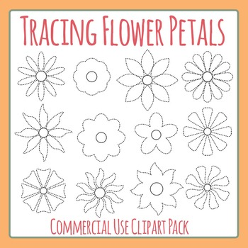 Tracing Flower Petals Clip Art Set for Commercial Use
