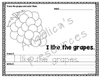 Fruits and Vegetables: Sentence Tracing - Includes Sight Words