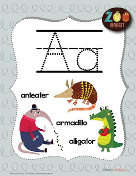 Tracing Letter A with Animals (Poster included)