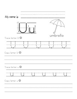 Tracing Letter Uu