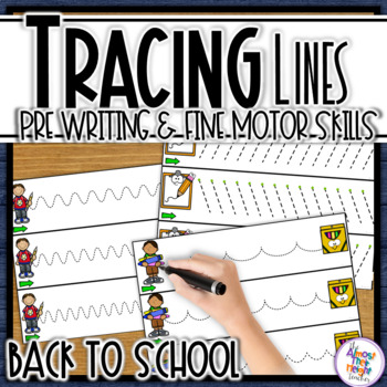 Tracing Line Cards - path of motion & fine motor skill  - Back to School themed