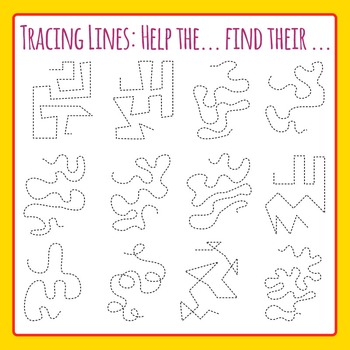 Tracing Lines - Help the ... find their... Clip Art Set for Commercial Use