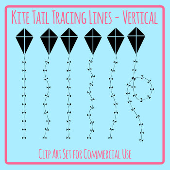 Tracing Lines - Kite Tails Vertical Dashed/Dotted Lines for Pencil Control