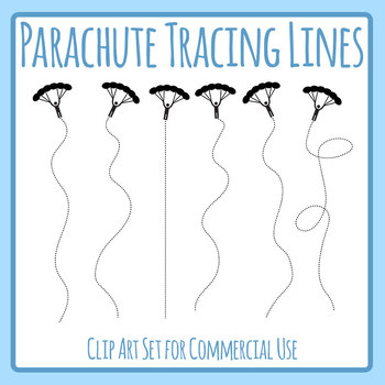 Tracing Lines - Parachutes Vertical Dashed/Dotted Lines for Pencil Control