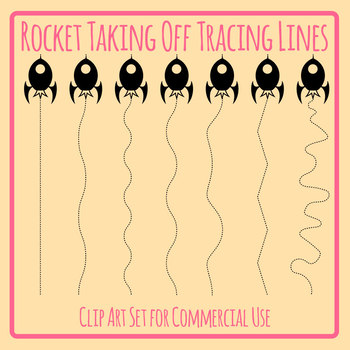 Tracing Lines - Rockets Vertical Dashed/Dotted Lines for Pencil Control Clip Art