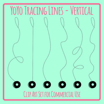 Tracing Lines - YoYos Vertical Dashed/Dotted Lines for Pencil Control Clip Art