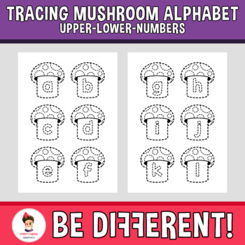 Tracing Mushroom Alphabet Clipart Letters ENG.-SPAN. (Upper-Lower-Numb.)