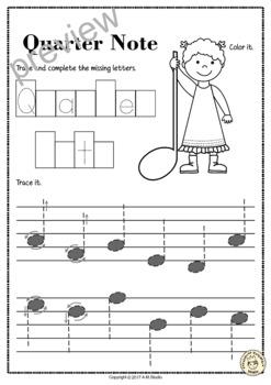 Tracing Music Notes Worksheets for Kids by Anastasiya ...