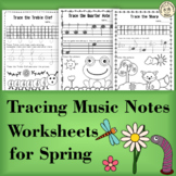 Tracing Music Notes Worksheets for Spring | Distance Learning