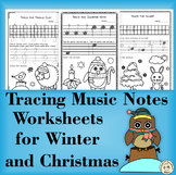 Tracing Music Notes Worksheets for Winter and Christmas