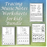 Tracing Music Notes Worksheets for kids {Bundle} | Distanc