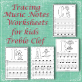 Tracing Music Notes Worksheets for kids {Treble Clef} | Di
