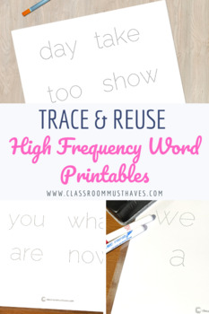 High Frequency Word Tracing Printable