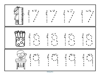 Tracing Numbers 0-20 for Beginning Writers - Back to School Theme