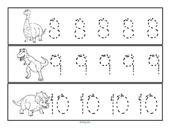 Tracing Numbers 0-20 for Beginning Writers - Dinosaurs Theme