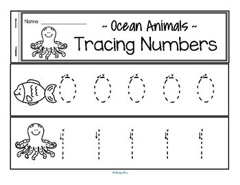Tracing Numbers 0-20 for Beginning Writers - Ocean Animals Theme
