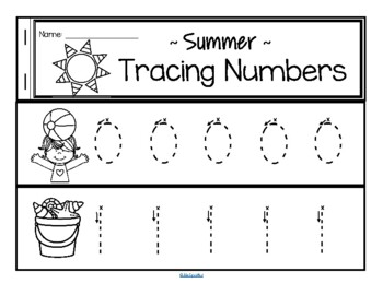 Tracing Numbers 0-20 for Beginning Writers - Summer Theme