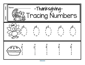Tracing Numbers 0-20 for Beginning Writers - Thanksgiving Theme