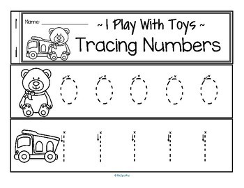 Tracing Numbers 0-20 for Beginning Writers - Toys Theme