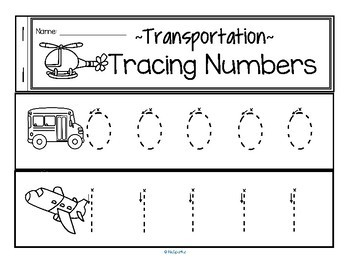 Tracing Numbers 0-20 for Beginning Writers - Transportation Theme