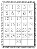 Tracing Numbers 0-30 Placemat