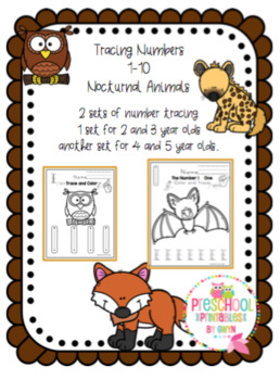 "Tracing Numbers 1-10 Nocturnal Animals ""No Prep"""