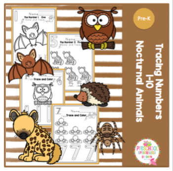 """Tracing Numbers 1-10 Nocturnal Animals """"No Prep"""""""