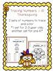"""Tracing Numbers  1-10 Thanksgiving """"No Prep"""""""