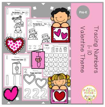"Tracing Numbers 1-10 Valentine Theme ""No Prep"""