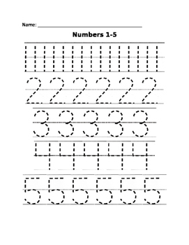 Tracing - Numbers 1-5