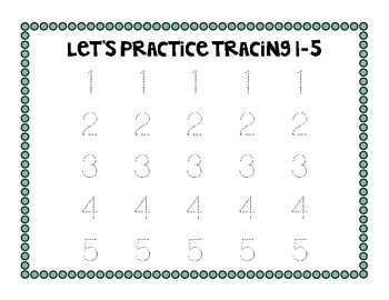 Tracing Numbers 1-5