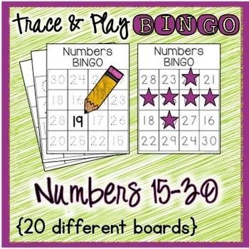 Numbers BINGO 15-30