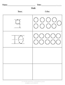 Tracing Numbers & Coloring Circles