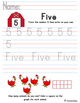 Tracing Numbers - Five (Farm Animals Theme)