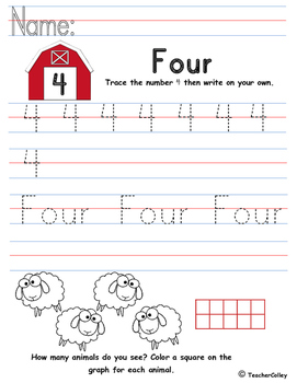 Tracing Numbers - Four (Farm Animals Theme)