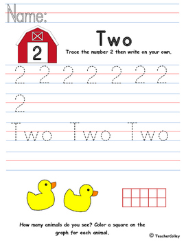 Tracing Numbers - Two (Farm Animals Theme)