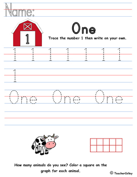 Tracing Numbers - One (Farm Animals Theme)