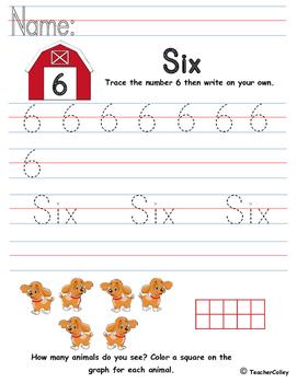 Tracing Numbers - Six (Farm Animals Theme)