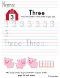 Tracing Numbers - Three (Farm Animals Theme)